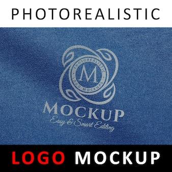 Logo mock up - logo printed on blue jean fabric
