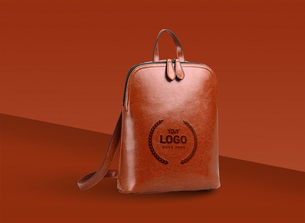 Logo mock up presentation with leather bag