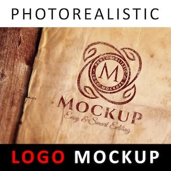 Logo mock up - printed logo on old paper