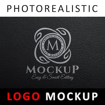 Logo mock up-블랙 가죽에 흰색 로고 인쇄