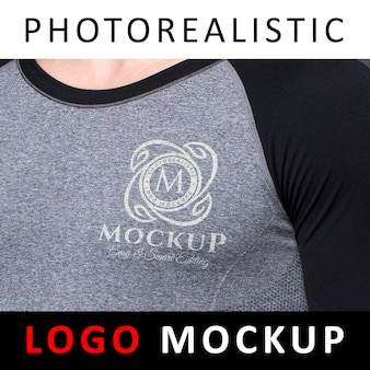 Logo mock up - serigraph printing screen printing logo on sport cloth t-shirt