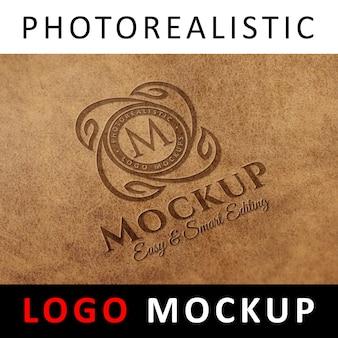 로고 모의 업-가죽에 스탬프 각인 로고