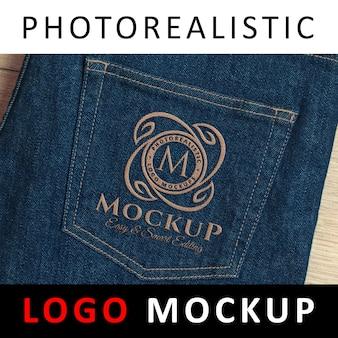 Logo mock up-진 패브릭에 스티치 로고