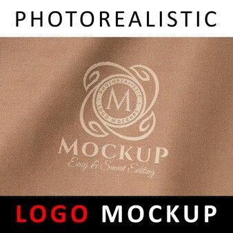 Logo mock up - печать на трафарете печать на эмблеме на ткани