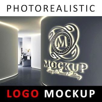Logo Mockup - 3D Backlit LED Logo Signage on a Company Wall