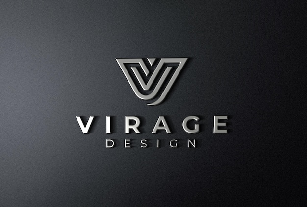 Логотип mockup 3d хромированный логотип на черном фоне