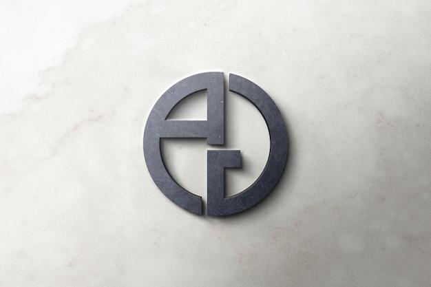 Logo mockup 3d concrete