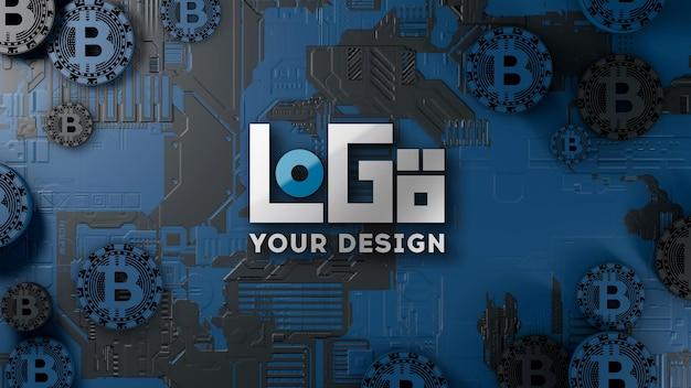 ロゴモックアップ3d暗号通貨技術