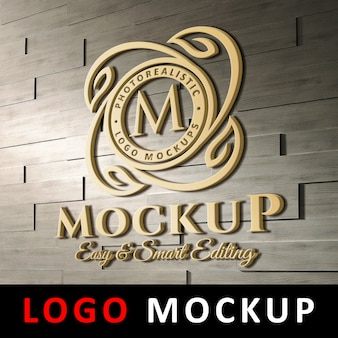 Logo mockup - 3d golden logo on brick wall
