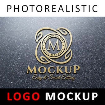 Logo mockup - 3d golden logo on granite wall