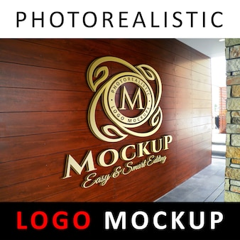 ロゴモックアップ - 木製の壁に3dゴールデンロゴ