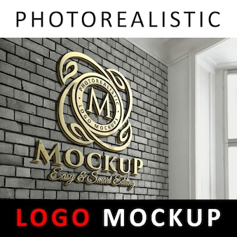 Logo mockup - 3d golden logo signage on office brick wall