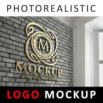 ロゴモックアップ - オフィスのレンガの壁に3Dゴールデンロゴサイン