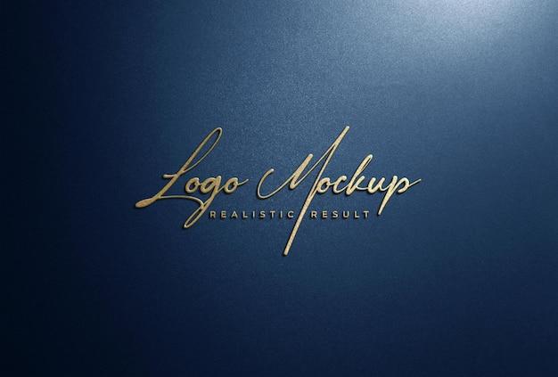 Logo mockup 3d golden logo signage