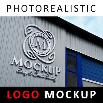 Logo mockup - 3d metallic aluminum logo signage on factory facade wall