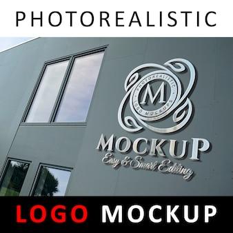 Logo mockup - 3d metallic chrome logo signage on company facade wall 2