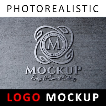 Logo mockup - 3d metallic logo signage on concrete wall