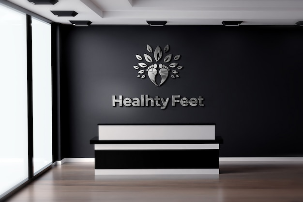 Logo mockup 3d realistic sign office black wall