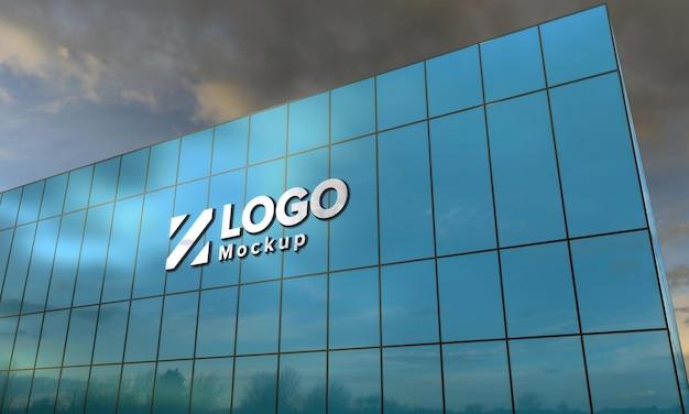 Логотип мокап 3d знак черное здание 3d визуализации