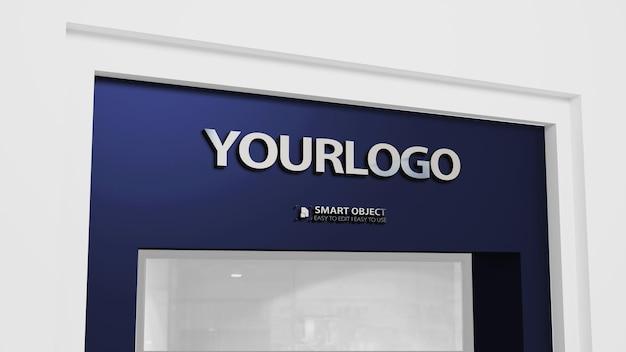 Макет логотипа 3d из нержавеющей стали с темно-синим цветом