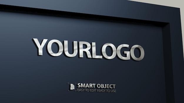 Макет логотипа 3d из нержавеющей стали Premium Psd
