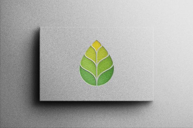 Логотип макет 3d стиль с белой бумагой