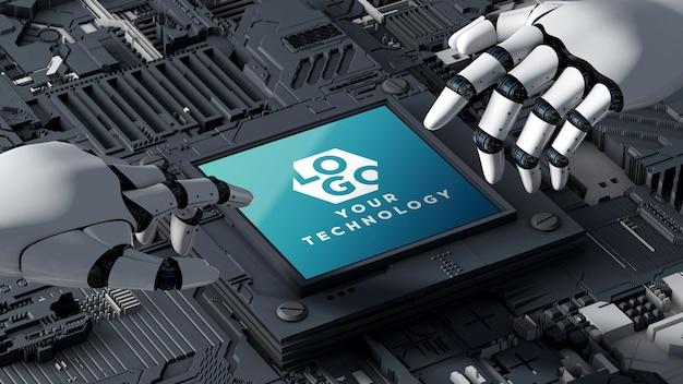 ロゴモックアップ3dテクノロジー回路基板とロボット