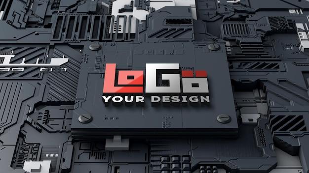 ロゴモックアップ3dテクノロジー回路基板