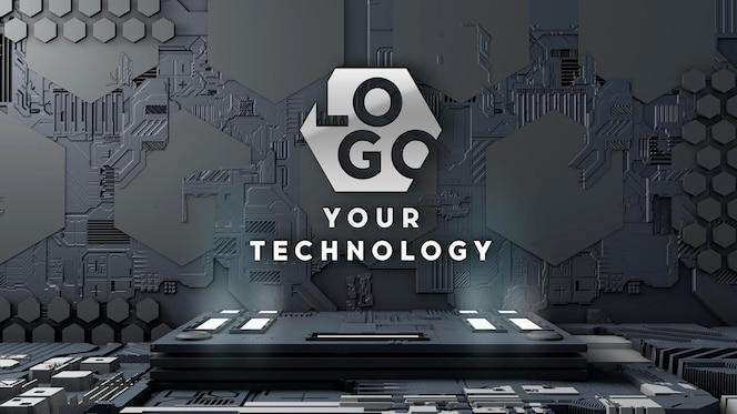 Logo mockup 3d technology circuit wall