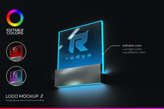 Logo mockup acrylic signage in realistic style with editable color and gradient