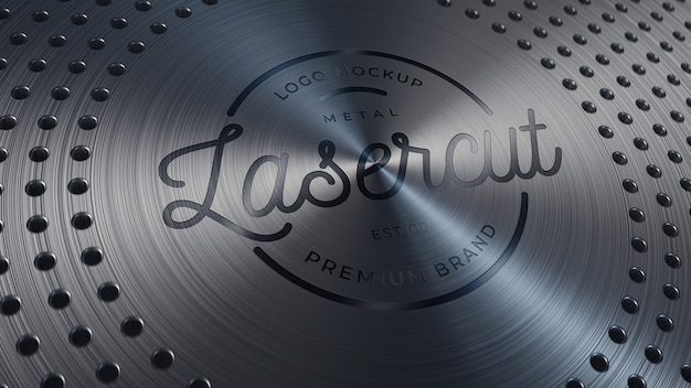 Logo mockup on anisotropic circle brushed metal plate with holes
