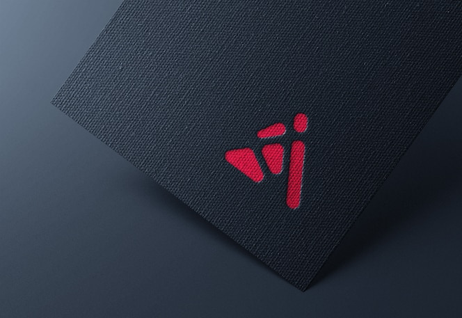 Logo mockup on black business card
