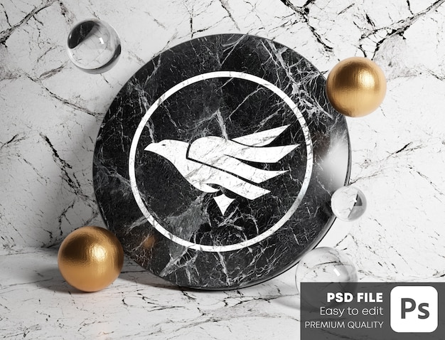 Logo mockup on black cylinder marble between gold and glass bubbles. white marble background.