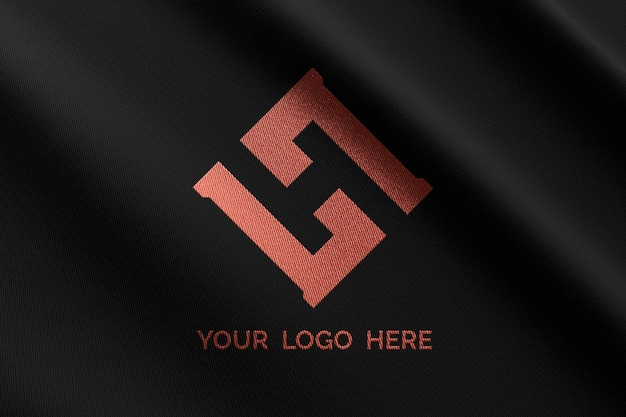 Logo mockup on black fabric