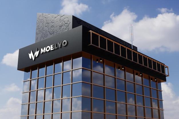 Logo mockup on black facade store office building sign