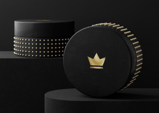 Logo mockup on black jewelry box for brand identity