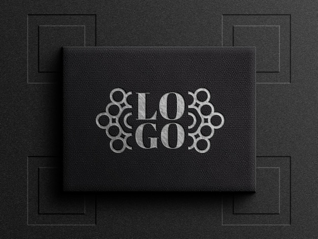 Logo mockup on black leather box with debossed effect