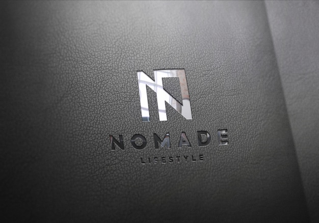 Logo mockup black leather