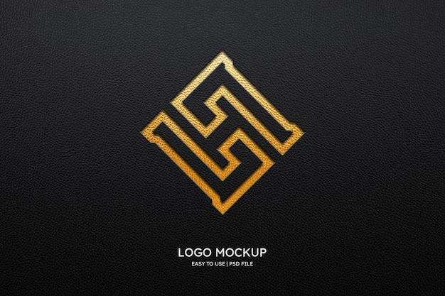 Logo mockup on black leather