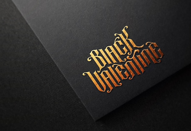Logo mockup on black paper with gold embossed effect