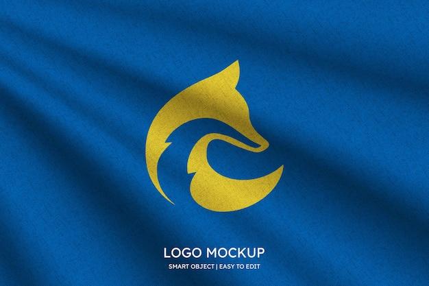 Logo mockup on blue background