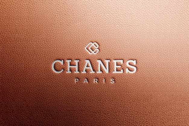 Logo mockup in brown luxury leather