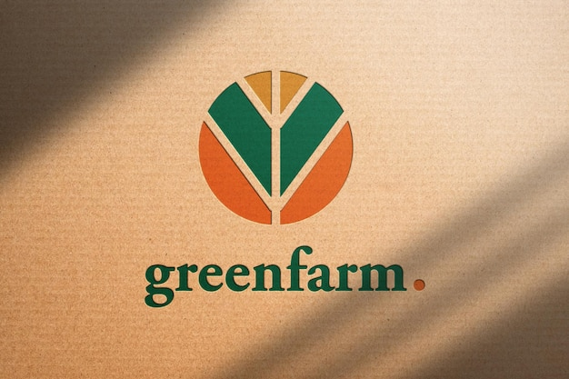 Logo mockup on brown recycled paper with shadow. save the world and caring concept