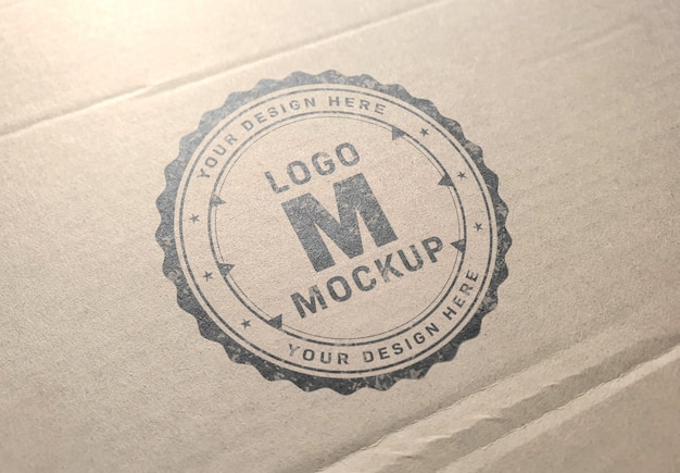 Logo mockup on carboard texture