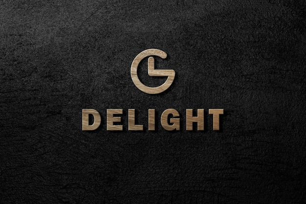 Logo mockup carving 3d wooden on dark black concrete wall