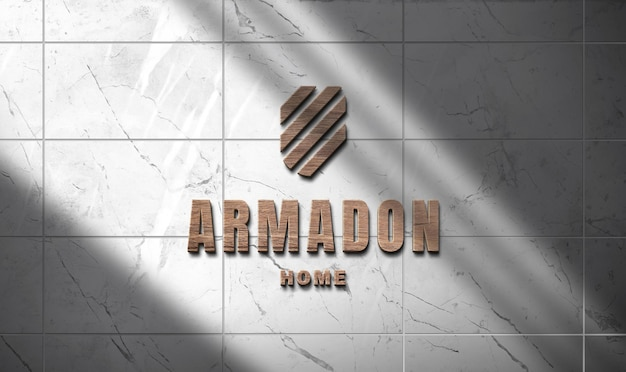Logo mockup carving 3d wooden on marble