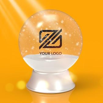 Logo mockup christmas snowball isolated