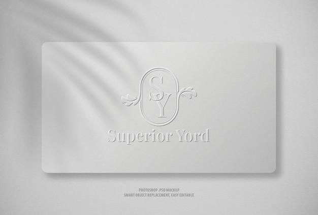 Logo mockup close up white craft paper