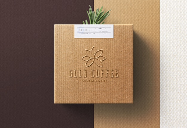 Logo mockup on coffee box