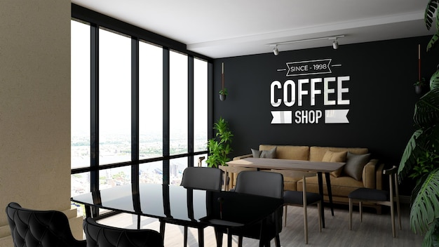 Logo mockup in coffee shop wall signage